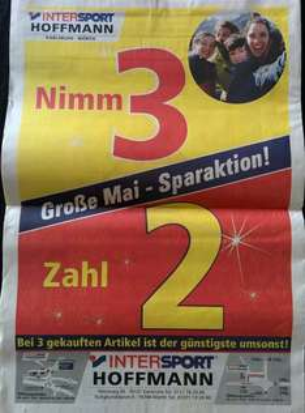[lokal Karlsruhe] Intersport Nimm 3, Zahl 2-Aktion
