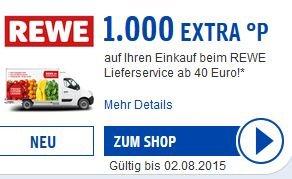 [REWE Online] 1000 Payback Punkte 10EUR eCoupon für den Rewe Lieferservice 40EUR MBW