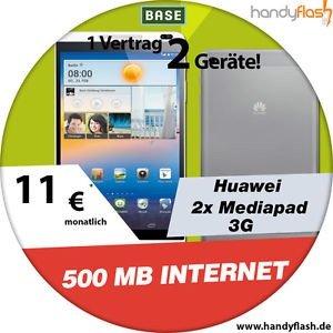 (2 Geräte)2x Huawei Mediapad 16GB 3G 8.0 Zoll mit BASE Internet Flat 11€ mtl.
