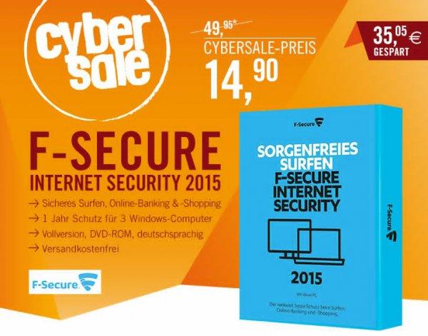 F-Secure Internet Security 2015 - Lizenz für 1 Jahr und 3 PCs - 14,99€ - Cyberport
