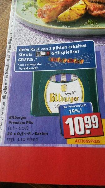 [REWE] Bitburger Premium Pils für 10,99€ (bei Kauf von zwei Kisten Bitburger, gibt es ein Weber Grillspießset Gratis)