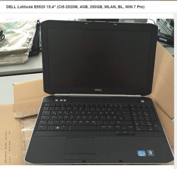 """DELL Latitude E5520 15,6"""" @ HOH 1920 x 1020 mattes Display (Ci5-2520M, 4GB, 250GB, WLAN, BL, WIN 7 Pro) 265,99 Gebraucht A Ware"""
