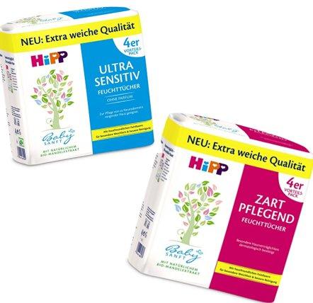 Windeln.de HiPP Babysanft Feucht-Tücher Zart Pflegend & Ultra Sensitiv 4x56 (4x52) 3,58€