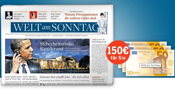 Jahresabo: Welt am Sonntag für 192,40€ mit 150,00€ Verrechnungsscheck – Effektivpreis: 42,40€