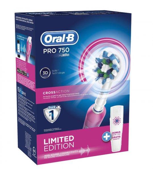 Amazon: Braun Oral-B PRO 750 Elektrische Zahnbürste mit Reiseetui in rosa