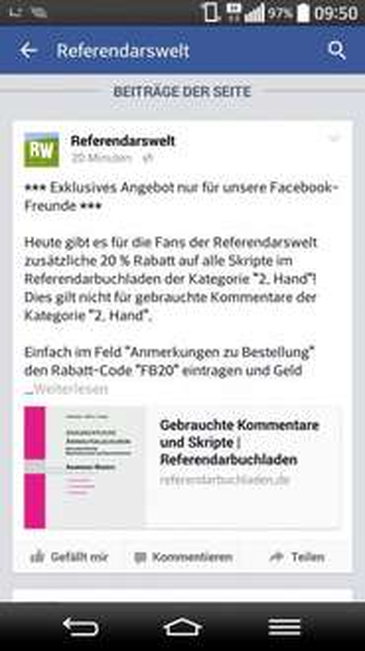 Nur heute 20% auf alle gebrauchten Skripte bei referendarbuchladen.de