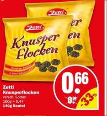 [NP Discount nur am Samstag 16.5] Zetti Knusperflocken 140gramm