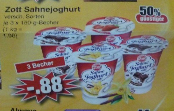 (Lokal) Zott Sahnejoghurt verschiedenen Sorten (3 Becher) bei Edeka in Alzenau / Mömbris / Schöllkrippen Stückpreis 0,29 Euro
