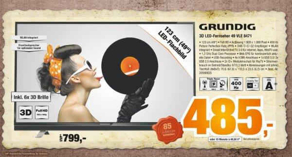 [Expert-Bening Gruppe] Grundig 49 VLE 8471 BL 124 cm (49 Zoll) 3D LED-Backlight Fernseher (Full HD, 400Hz PPR, DVB-T/C/S2, 4x HDMI, 2x USB 2.0, 1x USB 3.0) schwarz [Energieklasse A+]  für 489,-€ BESTPREIS