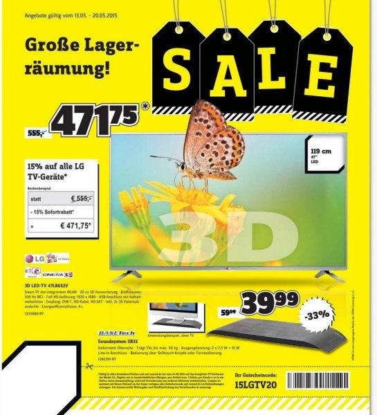[Conrad] 15% Auf LG TV-Geräte z.B. LG 47LB674V für 509,15€ statt 599,99