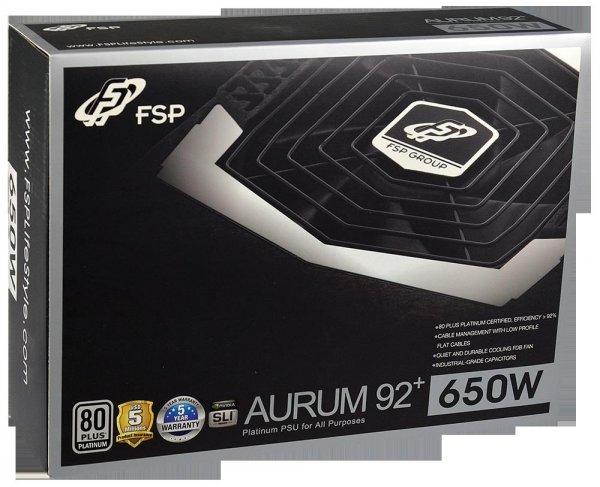 FSP Fortron Aurum 92+ PLATIUM 650 PC-Netzteil (650 Watt, ATX 2.3), 5 Jahre Hersteller Garantie