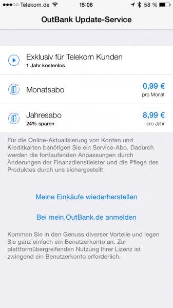 [Telekom] Outbank für IOS 1 Jahr gratis nutzen!