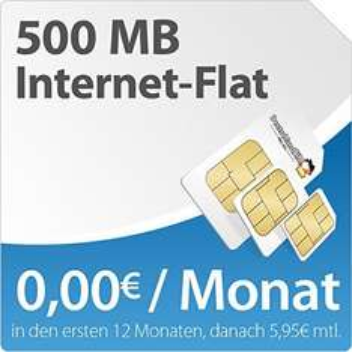 O2 DatenSIM 500MB | 12 Monate für 29,29 = 2,44 / Monat