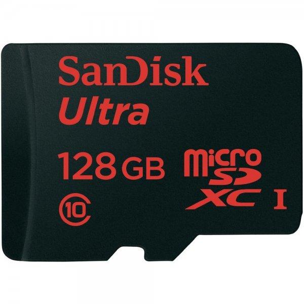 SanDisk microSDXC-Karte 128 GB Ultra bis zu 48 MB/s und Memory Zone Android App Class 10, UHS-I inkl. Vsk für 69,99 € > [conrad.de]