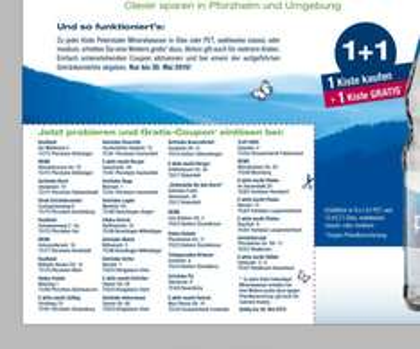 [LOKAL Pforzheim und Umgebung] Peterstaler Mineralwasser Aktion 1+1 bei vielen Getränkemärkten. 2 kaufen, 1 zahlen!