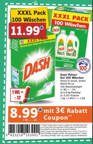 [ LIDL Bundesweit ] Dash Waschmittel 100 WL für 11,99€ oder 8,99€ mit Coupon vom 21.05 - 23.05