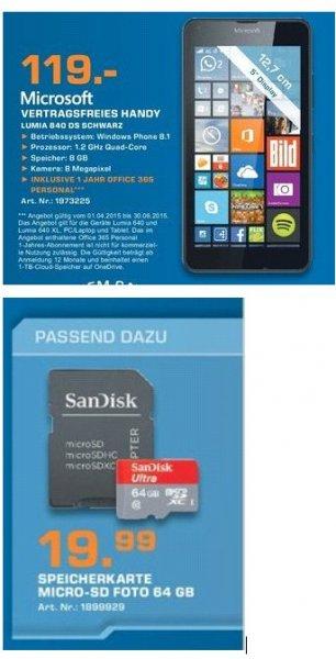 [Lokal Saturn Bielefeld] Microsoft Lumia 640 Dual SIM für 119,-€***Sandisk Ultra MicroSDXC 64GB Class 10 UHS-I für 19,99€