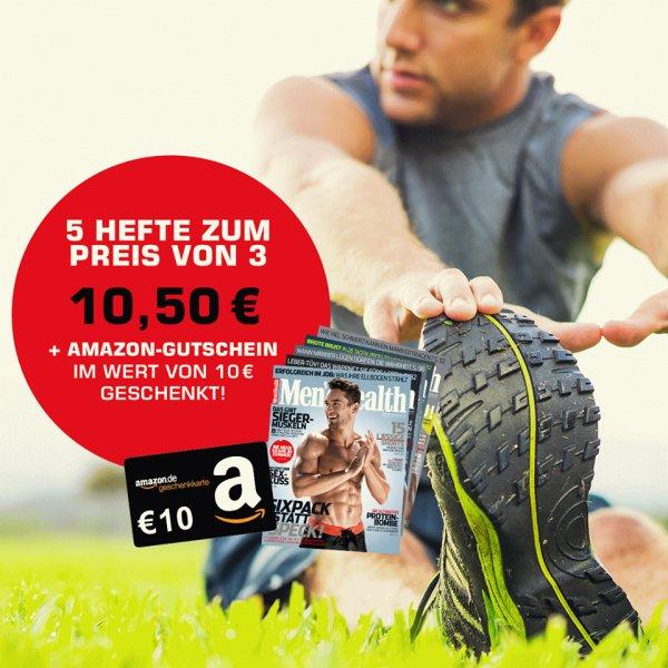 5 Ausgaben Men's Health für nur 10,50 € (statt 22,50 € am Kiosk) + 10 € Amazon-Gutschein