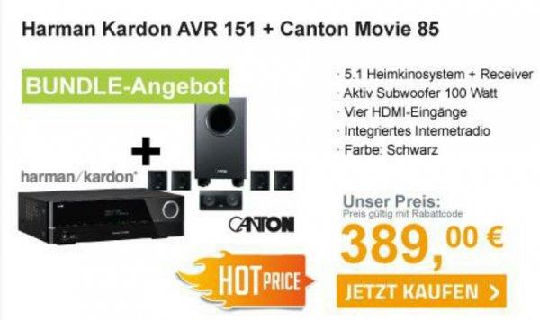 Harman Kardon AVR 151 + Canton Movie 85 CX schwarz für 389,- €