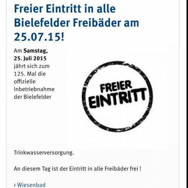 Freie Eintritt am 25.07.15 in allen Bielefelder Freibädern