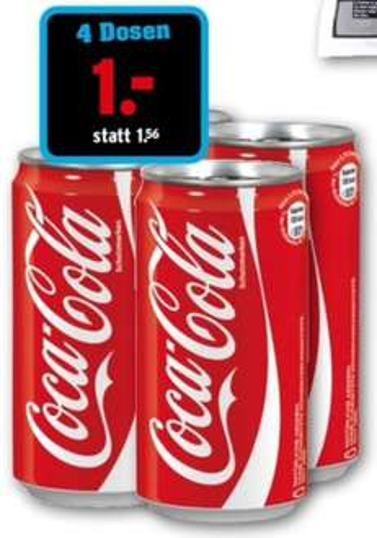 4 Dosen Coca-Cola 0.25l @ NETTO [mit Hund]