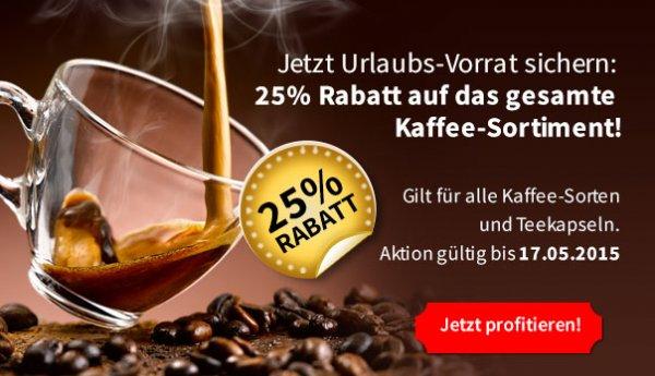 Migros / MIGROS-Shop.de , 25% RABATT auf das gesamte KAFFEE und TEE SORTIMENT!!  + 10€ GS