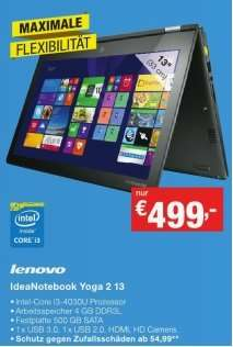 Staples: Lenovo  Yoga 2 13 I3-4030U 4GB Ram 500 GB SATA