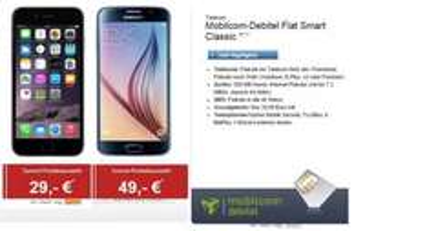 [logitel][mobilcom-debitel] Flat ins Telekomnetz und in ein anderes nach Wahl / 500 MB mit 7,2 MBit/s UMTS / SMS-Flatrate / für 29,99 / Monat + Samsung Galaxy S6 (nur in schwarz) mit 49 € Zuzahlung oder iPhone 6 (in drei Farben) mit 29 € Zuzahlung