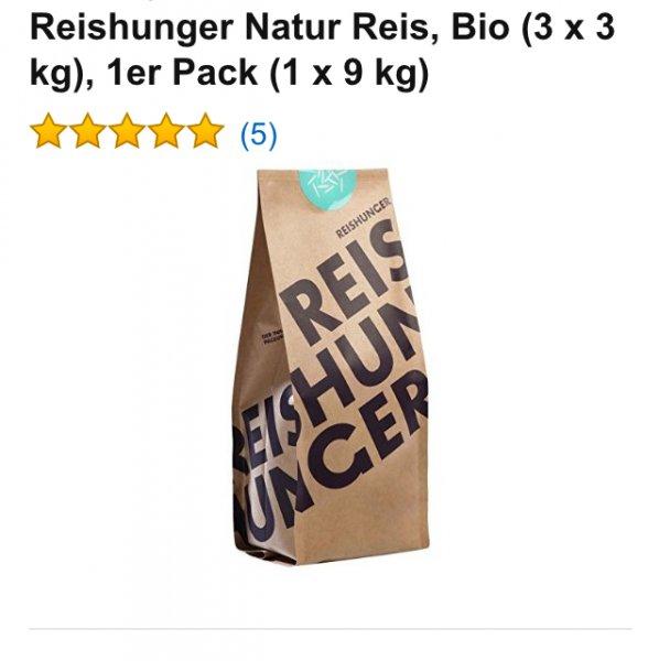 Preisfehler?!? Reishunger Natur Reis, Bio (3 x 3 kg), 1er Pack (1 x 9 kg)