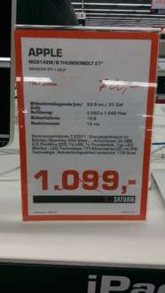 """[Saturn Berlin-Märkische Zeile] Apple Thunderbolt 27"""" Display als Restposten für 700€"""