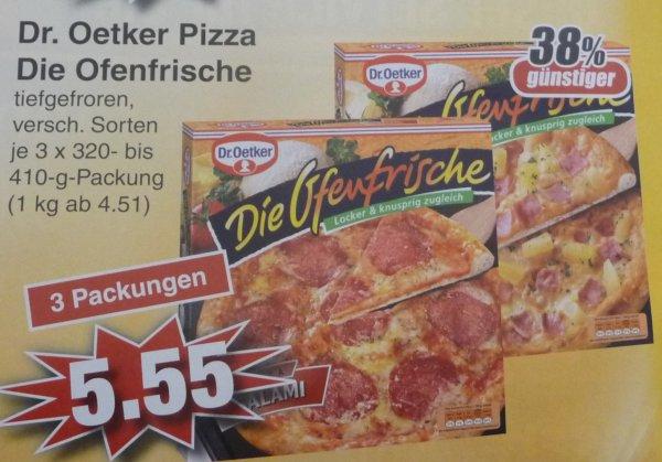 (Lokal) Dr.Oetker Die Ofenfrische verschiedenen Sorten (3 Packungen) bei Edeka in Alzenau Stückpreis 1,85 € (mit Coupon 1,35€)