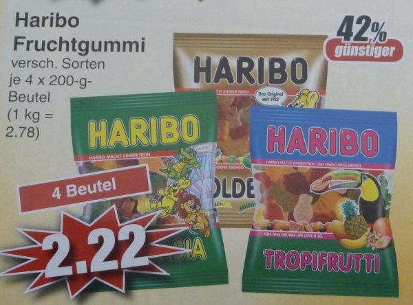 (Lokal) Haribo Fruchtgummi verschiedene Sorten 4 Beutel für 2,22 € = 0,56 € je Packung (+ 30 Cent Scondoo) bei Edeka in Alzenau
