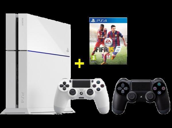 [Saturn.at] Playstation 4 in weiß + 2. Dual-Shock-Controller + Fifa 15 für 399€ oder für ~409€ inkl. Versand nach DE