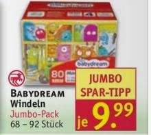 babydream Windeln großer Karton 2 Euro günstiger