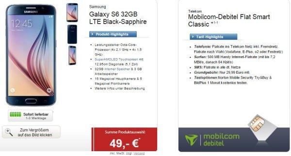 [logitel][mobilcom-debitel]Flat ins Telekomnetz+ein anderes Netz nach Wahl+500MB mit 7,2MBit/s UMTS+SMS-Flatrate für 29,99/Monat+Samsung Galaxy S6 mit 49 € Zuzahlung, Samsung Galaxy Note Edge mit 119 € Zuzahlung oder HTC One M9 mit 49 € Zuzahlung