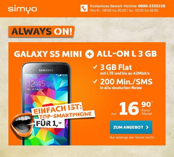 Simyo All-On L 3 GB LTE und 200 Min./SMS für 16,90EUR mtl. + Samsung S5 mini für 1,- dazu