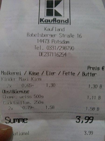 [lokal] Kinder Maxi King 3+1 Kaufland Pdam Hbf
