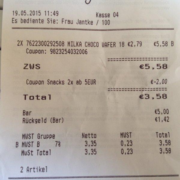 [Rossmann] Milka Choco Wafer (6 Stk.) für 1,79€ ab zwei Packungen