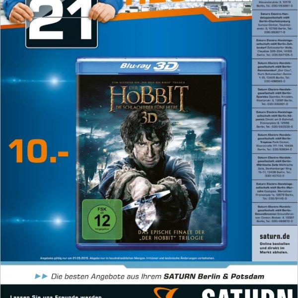 [Lokal] Berlin & Potsdam Saturn NUR am 21.05.15, Der Hobbit - Die Schlacht der fünf Heere Bluray 3D