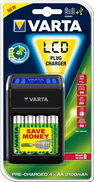 [Amazon Blitzangebot] Varta LCD Ladegerät für AA/AAA/9V und USB-Geräte incl. 4 AA Akkus für 15,99€