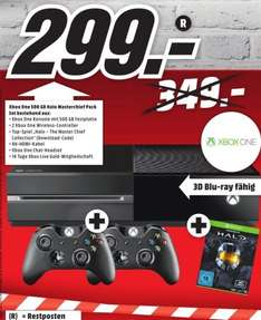 [Lokal Mediamarkt Sulzbach] XBOX One 500GB + 2.Controller + Halo-The Master Chief Collection(DL Code) für 299,-€
