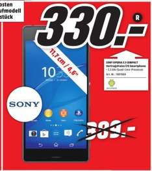 [Offline Mediamarkt Sulzbach] Sony Xperia Z3 Compact LTE (4,6'' HD-Triluminos-IPS, Snapdragon 801 Quad-Core-Prozessor 2,5 GHz, 2GB RAM, Android 5.0, wasserdicht nach IP65/68) für 330,-€