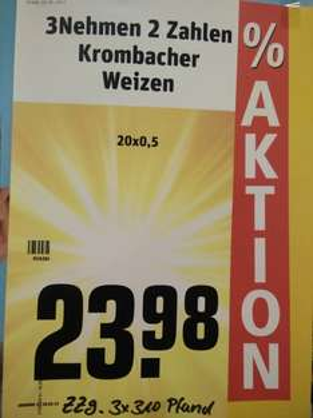 [REWE] Kiste Krombacher Weizen für 7,99€ [lokal?]