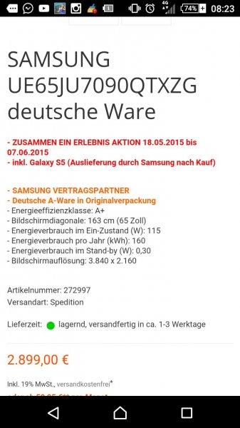 Samsung UE65JU7090 für 2899€ + 400€ Mediamarkt-Gutschein + Samsung S5
