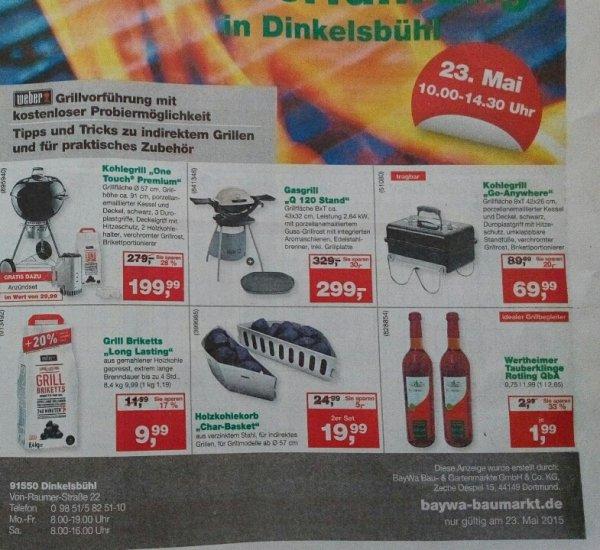 [Hornbach] EVTL. Nur lokal am 23.05. Weber One-Touch Premium Holzkohle-Kugelgrill 57 cm + Anzünder ab 175,99 Euro