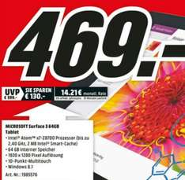 [Media-Markt Porta] Microsoft Surface 3 für 469,- statt 547,- €