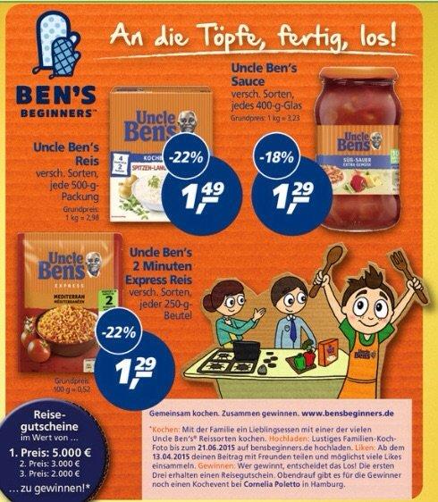 [Bundesweit Real][26-30.05] Uncle Bens Express Reis und Sauce für 0,29€ Kochreis 500g 0,49€