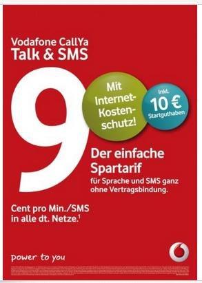 Vodafone Callya D2 Prepaid Karte mit 10€ Startguthaben für effektiv 3,79,.