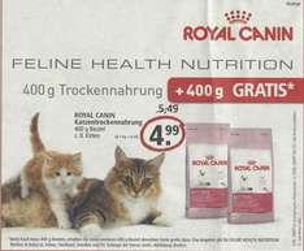 Zoo&Co - Royal Canin Katzenfutter 400 Gramm Beutel kaufen 400 Gramm Beutel Gratis dazu