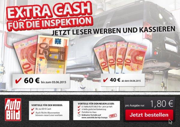 Auto Bild 51 Ausgaben für 31,80€ durch 60€ Barprämie (Lesershop24)
